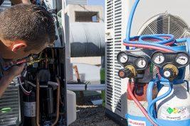 Poste oxy Koro Réf. 2907 en situation sur une installation de climatisation