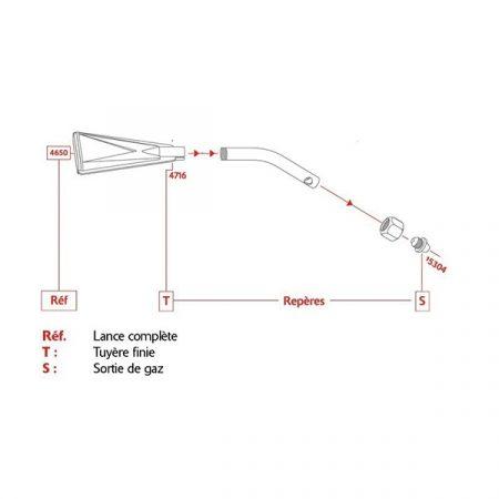 Le schéma de montage de l'injecteur Réf. 15304 sur la lance brûle peinture Réf. 4650