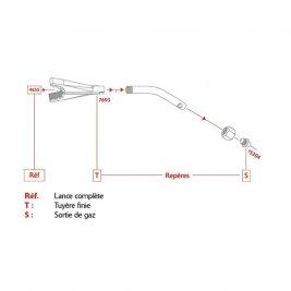 Le schéma de montage de l'injecteur Réf. 15304 sur la lance sanitaire Réf. 4655