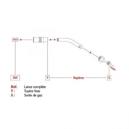 Le schéma de montage de l'injecteur Réf. 15304 sur la lance sanitaire Réf. 4673